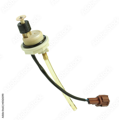 Leinwandbild Motiv Diesel fuel drain and water separator sensor isolated on white