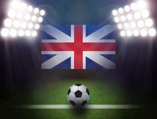 Soccer Ball with United Kingdom Flag in stadium.