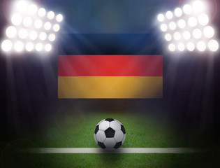 Soccer Ball with German Flag in stadium.