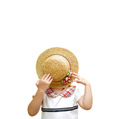 Portrait of little girl hiding her face with hat, isolate.