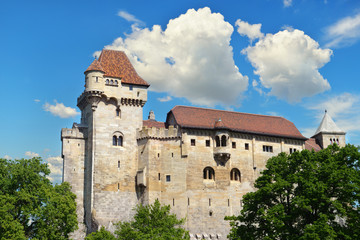 Historic castle on blue sky background. Liechtenstein