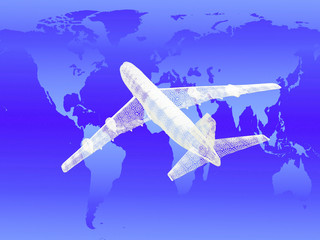 model of jet airplane. Concept - global travel.