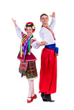 beautiful dancing couple in ukrainian polish national