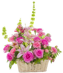 Pink Roses Arrangement on White