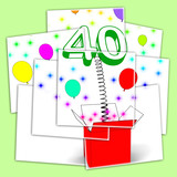 Number Forty Surprise Box Displays Unexpected Celebration Or Par poster