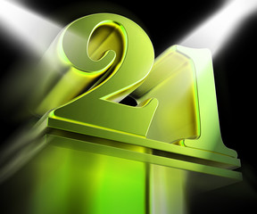 Golden Twenty One On Pedestal Displays Entertainment Awards Or P