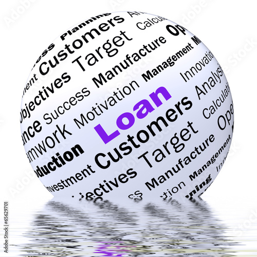 Loan Sphere Definition Displays Bank Credit Or Funding