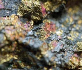 Nugget. Precious metals. Extreme closeup