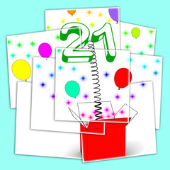 Number Twenty One Surprise Box Displays Birthday Celebration Or