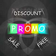 Advertising Words Displays Promo Discount Sale or Free