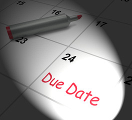 Due Date Calendar Displays Deadline For Submission