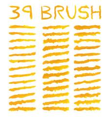 39 set orange watercolor brushes simulating