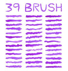 39 set purple watercolor brushes simulating