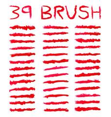 39 set red watercolor brushes simulating