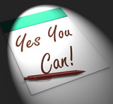Yes You Can! Notebook Displays Positive Incentive And Persistenc poster