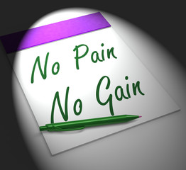 No Pain No Gain Notebook Displays Hard Work Retributions And Mot