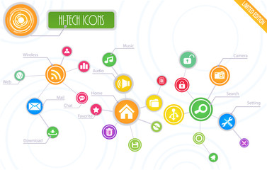 Hi-Tech Root Icons Set