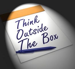 Think Outside The Box Notebook Displays Creativity Or Brainstorm