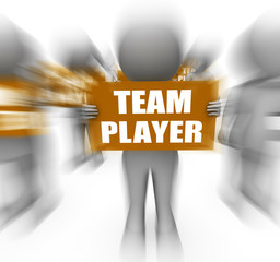 Characters Holding Team Player Signs Displays Teamwork Or Teamma