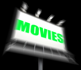 Movies Sign Displays Hollywood Entertainment and Picture Shows