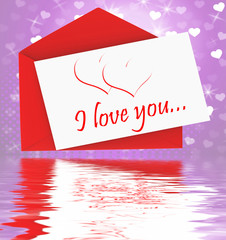 I Love You On Envelope Displays Valentines Card Or Romantic Lett