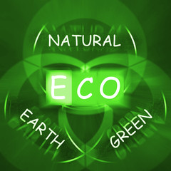 ECO On Blackboard Displays Environmental Care Or Eco-Friendly Na