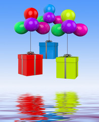 Balloons With Presents Displays Birthday Party Or Colourful Gift