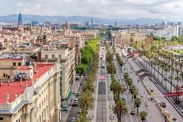 Aerial view of Passeig de Colom and the skyline of Barcelona, Sp