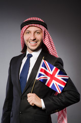 Arab man with united kingdom flag