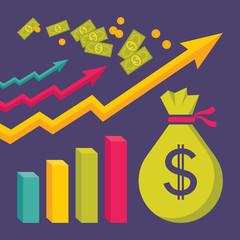 Business Dollar Trend - Vector Illustration in Flat Design Style