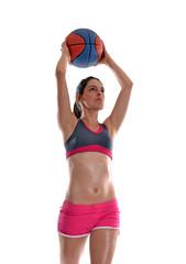 Joven mujer deportista jugando balón cesto.jugando basket.