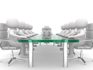 3D men sitting at a table and having business meeting - 3d rende