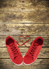 Heart-shaped red shoelaces
