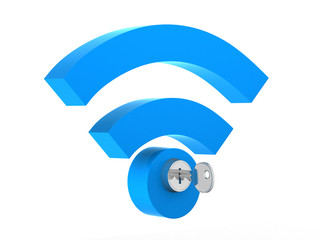 WiFi concept with wifi symbol and the key.