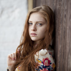 Beautiful young red hair woman