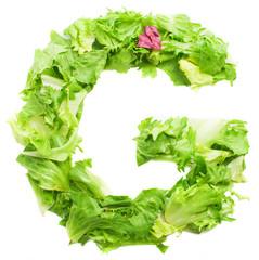 g lettuce letter on a white background