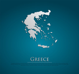 vector Greece Map card paper