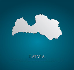 vector Latvia Map card paper