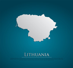 vector Lithuania Map card paper