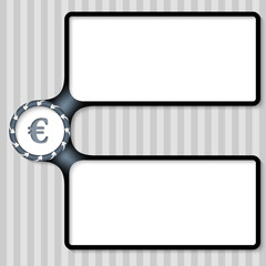 double box for entering text with arrows and euro sign
