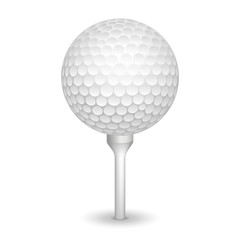 Golf realistic ball on a tee