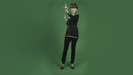 caucasian air hostess isolated on chroma green screen background