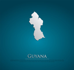vector Guyana Map card paper