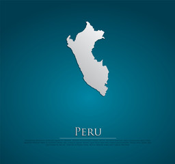 vector Peru Map card paper