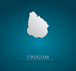 vector Uruguay Map card paper