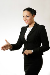 Young business woman, congratulating and smiling.
