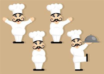 kitchen chef cartoon character set