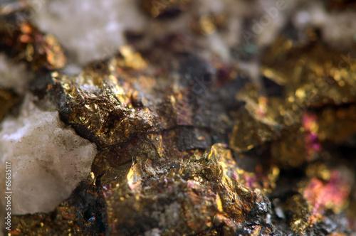 Leinwandbild Motiv Golden metal background. Macro