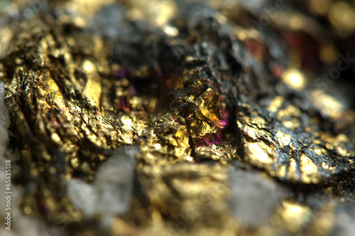 Golden metal background. Macro - 65635138
