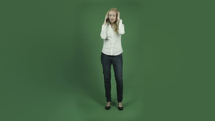 caucasian woman isolated on chroma green screen background sad